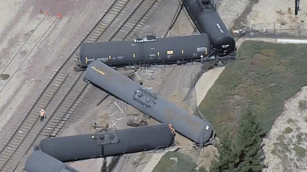 Evacuations Ordered After 13 Tanker Cars Derail in San Bernardino