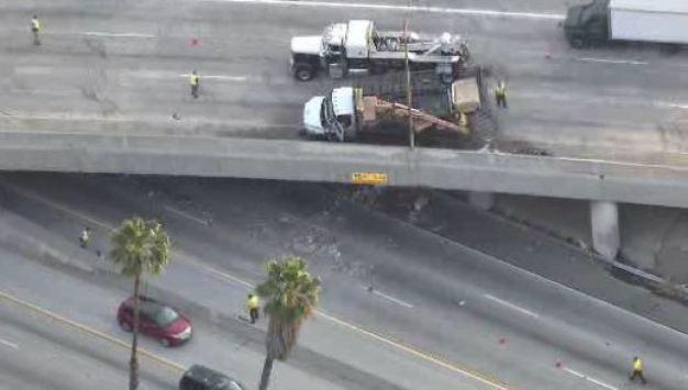 Overpass Crash Sends Debris Onto Freeway