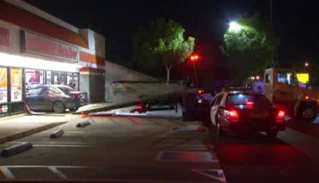 Car Slams Into Auto Zone in Covina