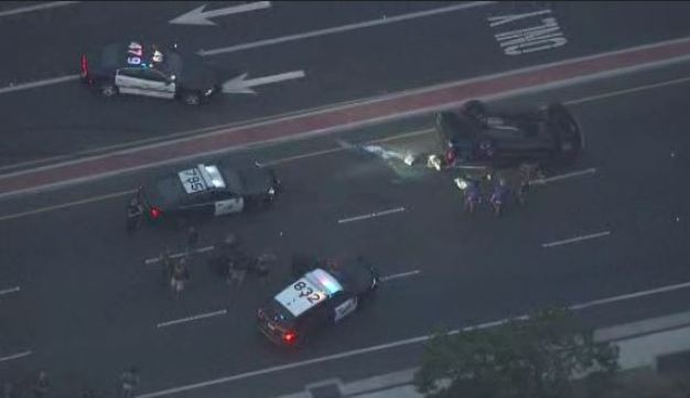 Pursuit Ends in Rollover Crash in Irvine