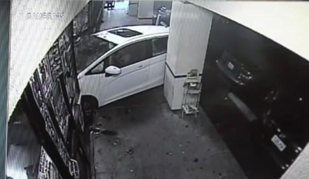 Car Slams Through Front of Restaurant, Worker Injured