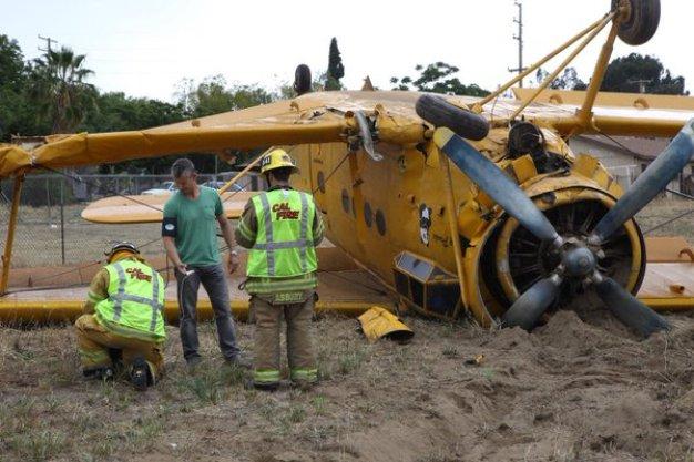 Biplane Crashes in San Bernardino County Field
