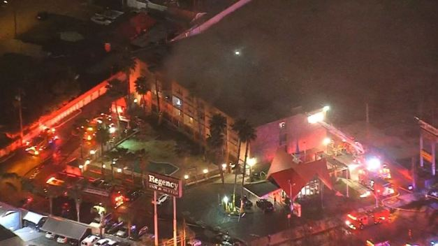 9 People Injured in Baldwin Park Hotel Fire<br />