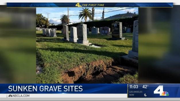 Graves Sink Into Ground Due to Heavy Rain