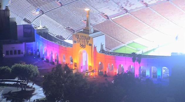 Los Angeles Landmarks Illuminate Ahead of 2028 Olympics Announcement