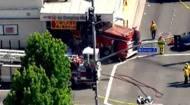 Firefighters Hurt When Fire Truck Crashes Into Restaurant