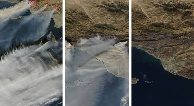 [la gallery] Photos: NASA Images Show Thomas Fire Smoke Plume Come and Go