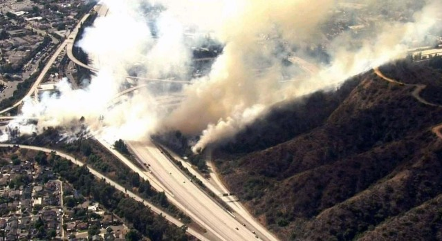 Pictures: Fire Forces Evacuations in Eagle Rock Area