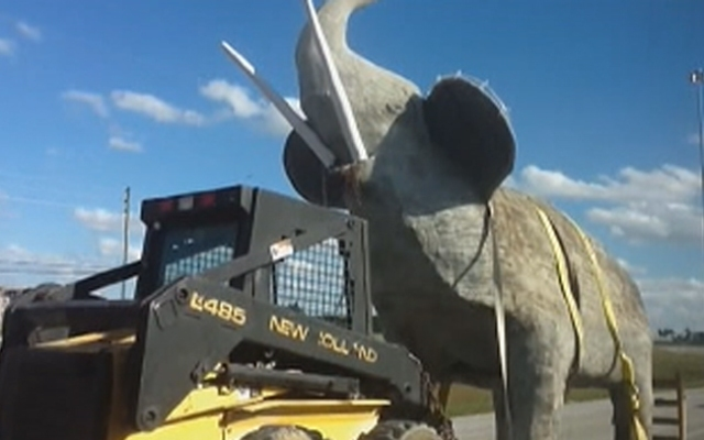 The elephant statue on its way to Hialeah Sunday.