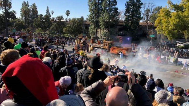 Rose Parade Float Catches on Fire