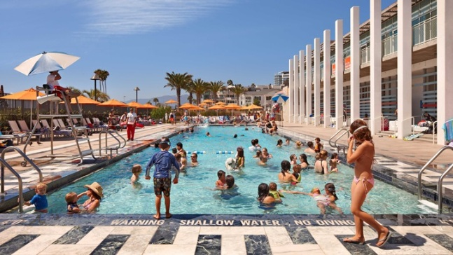 Pop-Up Pool Day at Santa Monica Landmark