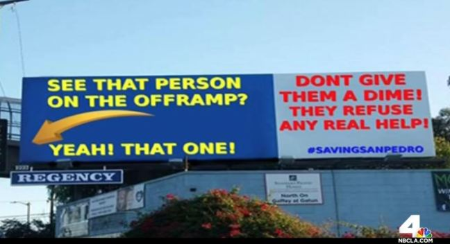 San Pedro Residents Argue Over Homelessness Billboard