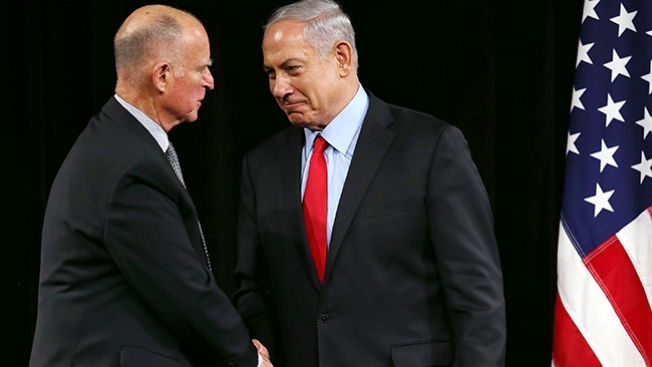 Israeli Prime Minister Netanyahu, Gov. Brown Sign Pro-Business Pact in Silicon Valley