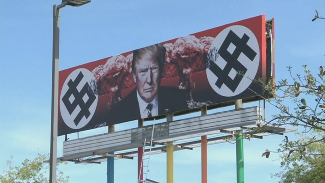 Billboard of Donald Trump Backed by Mushroom Clouds, 'Swastika Dollar' Signs Pops Up in Arizona