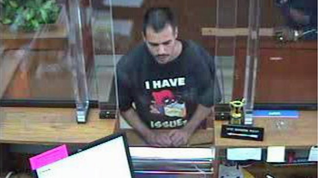 """Accused Hayward Bank Robber's T-Shirt: """"I Have Issues"""""""