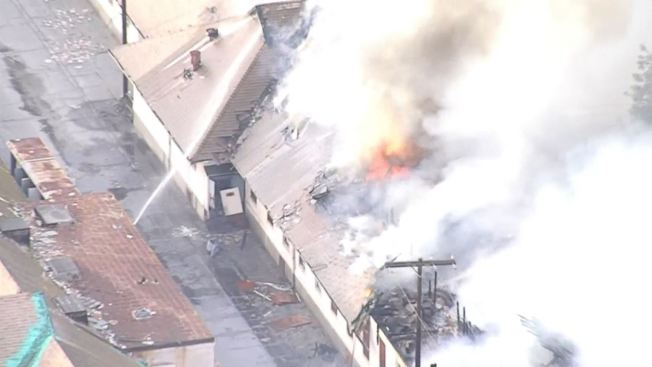 Firefighters Battle Blaze at Abandoned Building in Downey