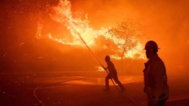 Red Flag Warning in Effect As Firefighters Battle Saddleridge Fire