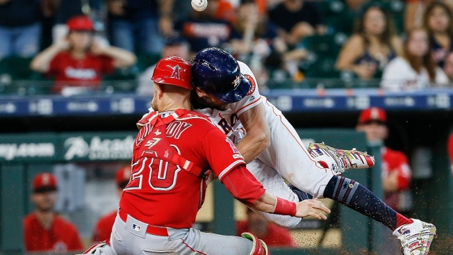 Scary Collision at the Plate, Mike Trout Homers Twice in Eventful Angels' Extra Innings Loss