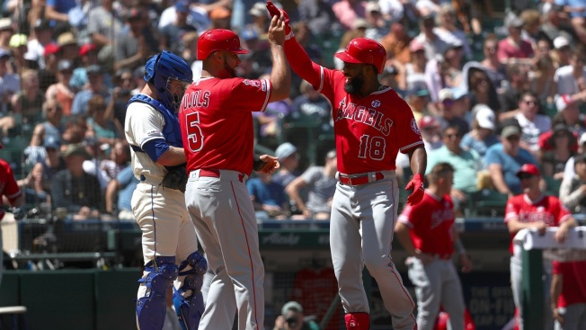 Pujols, Trout Homer, Goodwin Hits 2 HRs as Angels Maul Mariners 9-3