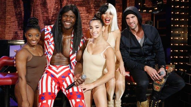 Simone Biles, Aly Raisman Surprise Michael Phelps on 'Lip Sync Battle Live'