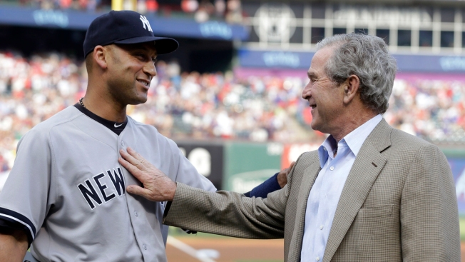 George W. Bush Surprises Derek Jeter in Rangers Farewell