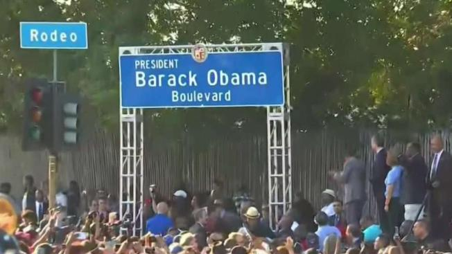 Los Angeles Renames Stretch Of Road Obama Boulevard