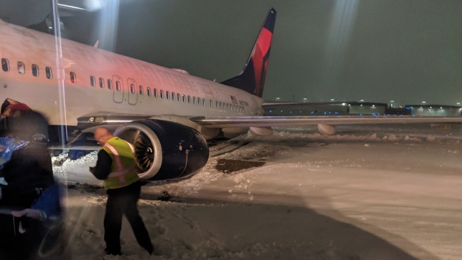 Delta Plane Slides Off Runway After Landing at Cincinnati Airport