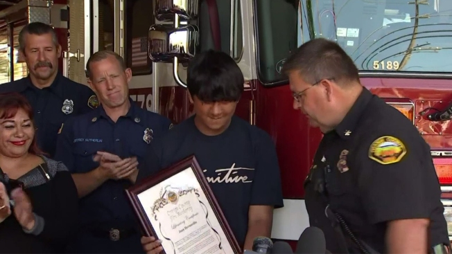Orange County Teen Honored After His Quick Reaction Saves Family From House Fire