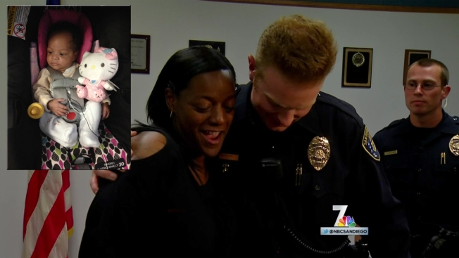 Mom Reunites With San Diego Police Officers Who Saved Baby's Life