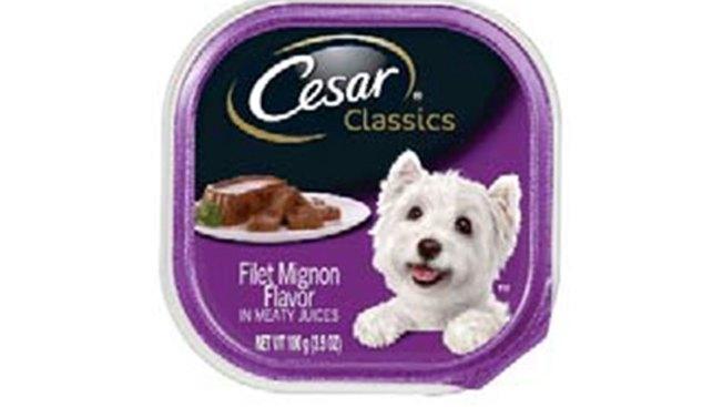 Mars Recalls Cesar Classics Filet Mignon Dog Food Over Plastic Pieces