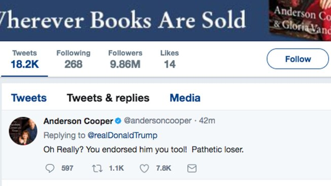 Here's the Real Story Behind Anderson Cooper's Rude Tweet to President Trump