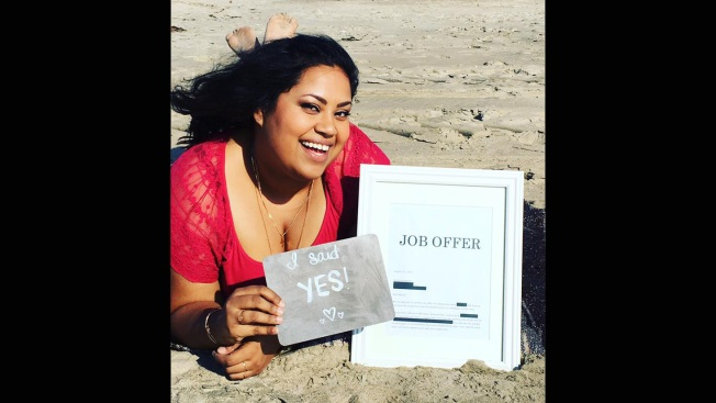 'She Said Yes!': Long Beach Woman's Job Announcement Photos Go Viral for All the Right Reasons