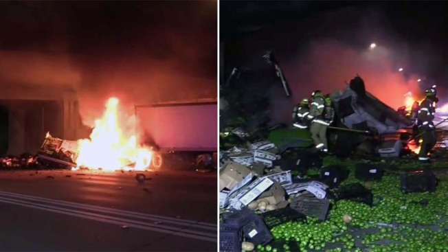 CHP Officers Rescue Driver From a Burning Produce Truck in Anaheim
