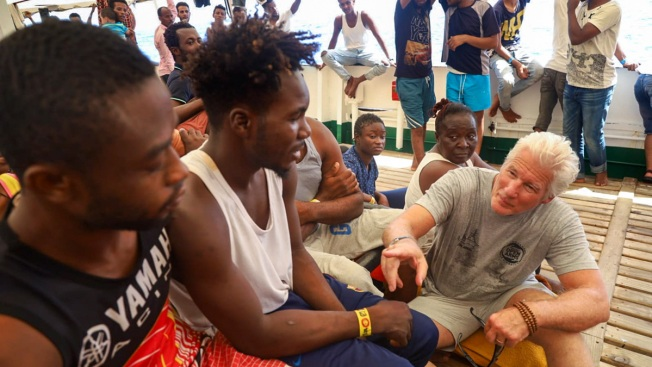 Richard Gere Visits Migrants Stuck in the Mediterranean