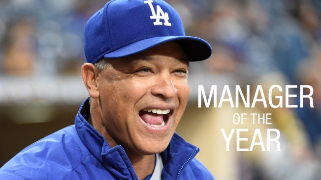 dodgers dave roberts wins  nl manager   year award nbc southern california