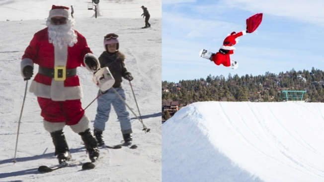 Santa Skiing to Snow Valley and Snow Summit