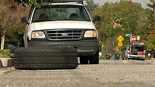 Punctured Tire From Police Pursuit Sits in Encino Gutter for 12 Days