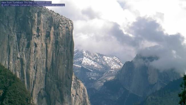 Snow Falls in the Sierra Nevada Mountains on the Last Day of Summer