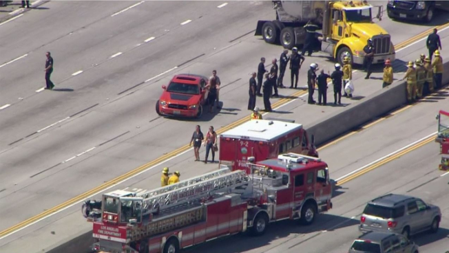 Motorcycle Officer In Crash on 5 Freeway