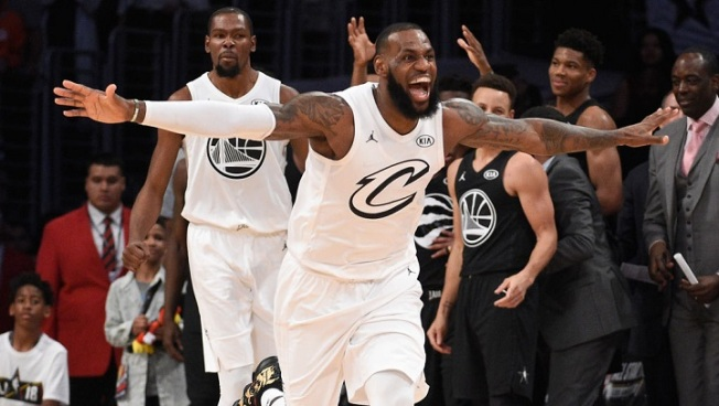 409ea725a723 The Art of the Getaway. LeBron James  23 of Team LeBron celebrates during  the NBA All-Star ...