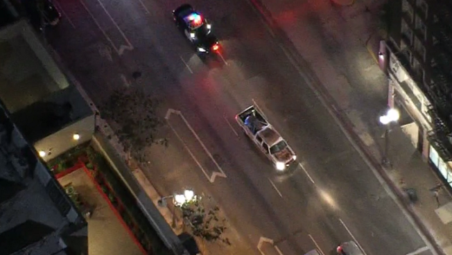 Wrong-Way Pickup Driver Surrenders in Downtown LA After Pursuit