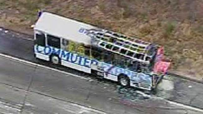 Commuter Bus Catches Fire on 101 Freeway