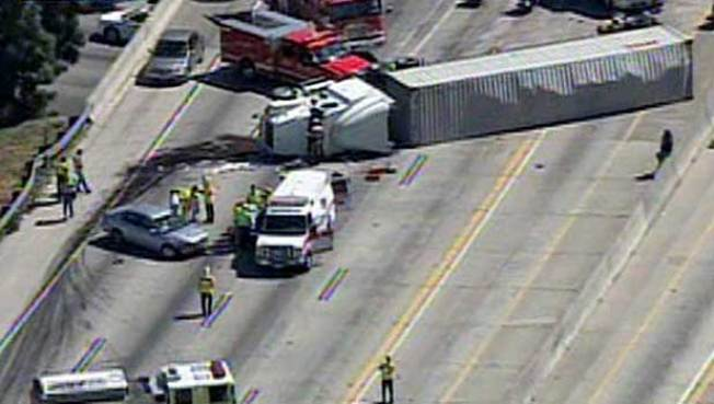 Big Rig Crash Closes 10 Freeway in Montclair