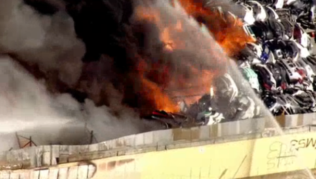 Wilmington Fire Consumes Car Parts in Easter Sunday Blaze