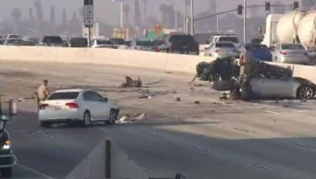 One Killed in Fiery Six-Vehicle Crash on 215 Freeway in San