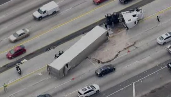Big Rig Crash Slows 210 Freeway in Irwindale