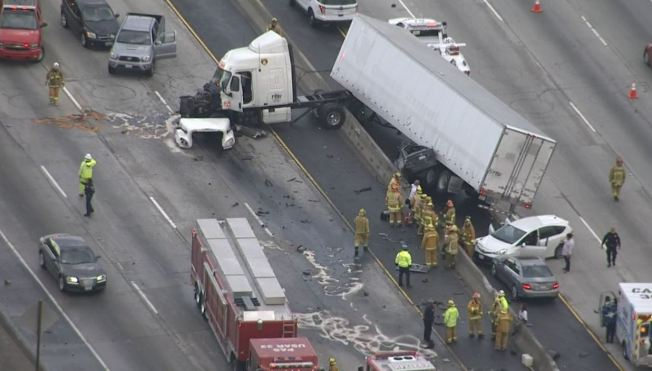 Semi-Truck Crash Involving 5 Vehicles Shuts Lanes on 60
