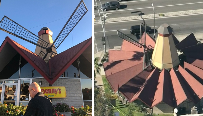 Photos: Denny's Windmill Blade Falls on Restaurant Roof