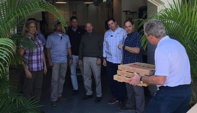 President George W. Bush Delivers Food to Federal Workers