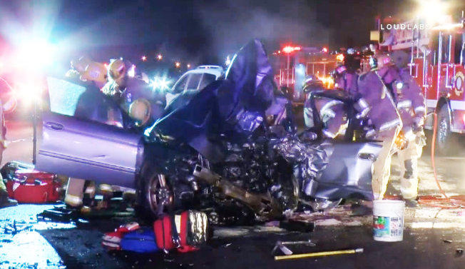Wrong-Way Driver Crash Closes Lanes on 215 Freeway - NBC